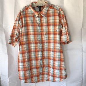 Marmot Orange Plaid Short Sleeve Shirt XL
